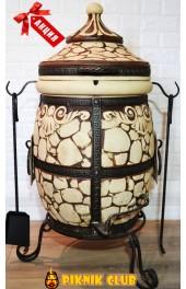 """Тандыр""""Камень""""объём 60 литров,вес 113 кг,стенка 6 см,поворотная крышка,ПОДАРКИ на 1000 грн!"""