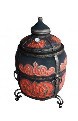 """Тандыр """"Тугарин"""" утепленный большой 170 литров цвет черно-красный полная комплектация"""