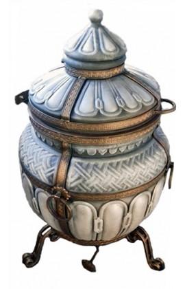 """Тандыр """"Тамерлан"""" утепленный средний 140 литров цвет серебро полный комплект"""