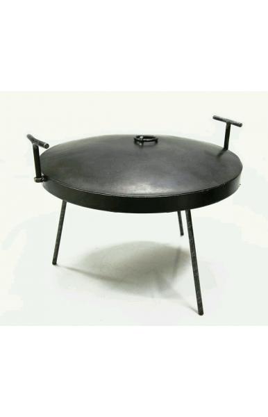 Жаровня сковорода из диска бороны с крышкой диаметром 400 мм. с съёмными ручками и ножками