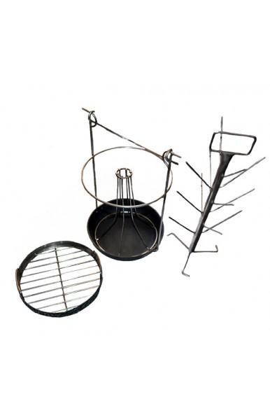 Комплект трансформер 4 в 1 чугунной сковородкой для тандыра с диаметром горовины от 310 мм.