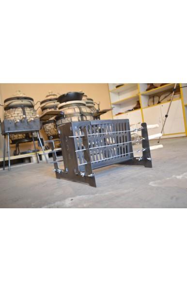 Вертикальный разборной экомангал мини из стали 3 мм на 6 шампуров вес 5 кг.