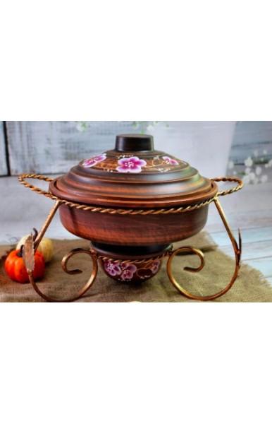 Садж набор с миской для мяса крышкой для миски стопками и соусницами керамический